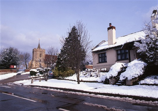 Photo:Picturesque Hockley. Can someone tell me more about the church and the house on the right?
