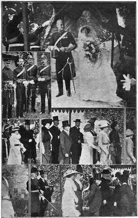 Photo:Comrades of Lieut.-Col. Charles Oswald Smeaton, R.A., form an archway, a guard of honour, swords drawn, for the couple's passage.